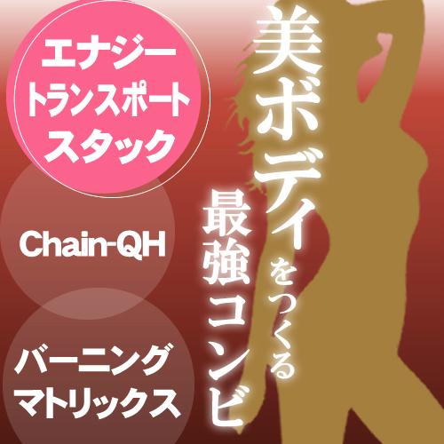 エナジートランスポートスタック 【バーニングマトリックス & Chain-QH(カネカ還元型CoQ10)(200mg×10粒)×3袋】ダイエット