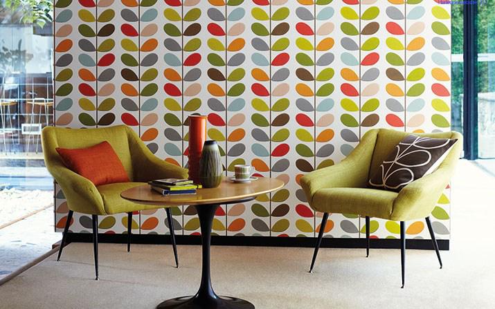 訳あり品送料無料 イギリスのデザイナー オーラカイリーの壁紙 Orla Kiely HARLEQUIN Multi 新作 大人気 壁紙カット販売 オーラカイリー オレンジ系 Stem 110384