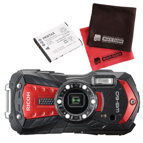 【予備バッテリーセット】 リコー RICOH WG-60 レッド 防水・防塵・耐衝撃・防寒 デジタルカメラ