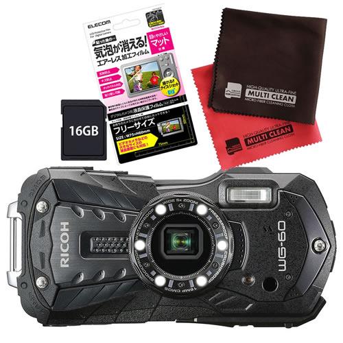 【SD16GB&液晶保護フィルムセット】 リコー RICOH WG-60 ブラック 防水・防塵・耐衝撃・防寒 デジタルカメラ