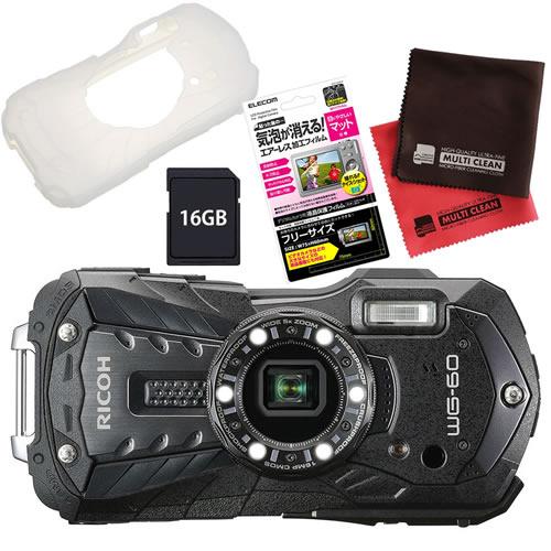 【SD16GB&シリコンジャケットセット】 リコー RICOH WG-60 ブラック 防水・防塵・耐衝撃・防寒 デジタルカメラ 【防水カメラ】