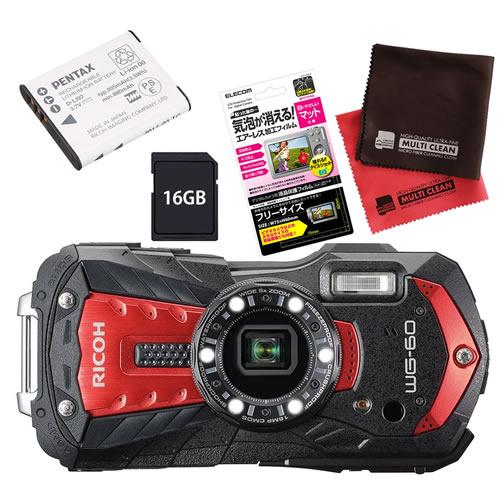 【SD16GB&ジャケット&予備バッテリーセット】 リコー RICOH WG-60 レッド 防水・防塵・耐衝撃・防寒 デジタルカメラ