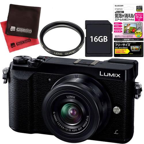 (SD16GB&保護フィルムセット) Panasonic (パナソニック) ミラーレス一眼カメラ ルミックス DMC-GX7MK2K ブラック 12-32キット