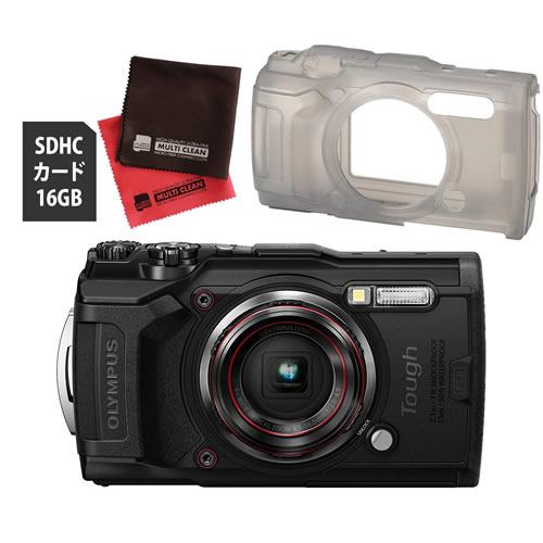 OLYMPUS オリンパス デジタルカメラ Tough TG-6 ブラック (防水 防塵 耐衝撃 GPS内蔵) (SD16GB+シリコンジャケットセット)【防水カメラ】