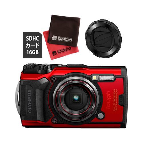 OLYMPUS オリンパス デジタルカメラ Tough TG-6 レッド (防水 防塵 耐衝撃 GPS内蔵) (SD16GB+レンズバリアセット)【防水カメラ】