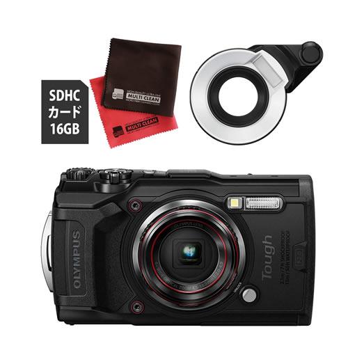 OLYMPUS オリンパス デジタルカメラ Tough TG-6 ブラック (防水 防塵 耐衝撃 GPS内蔵) (SD16GB+フラッシュディフューザー FD-1セット)【防水カメラ】
