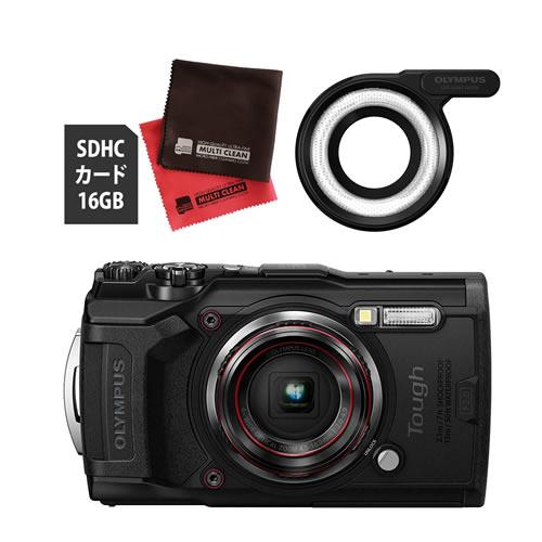 OLYMPUS オリンパス デジタルカメラ Tough TG-6 ブラック (防水 防塵 耐衝撃 GPS内蔵) (SD16GB+LEDライトガイド LG-1セット)【防水カメラ】