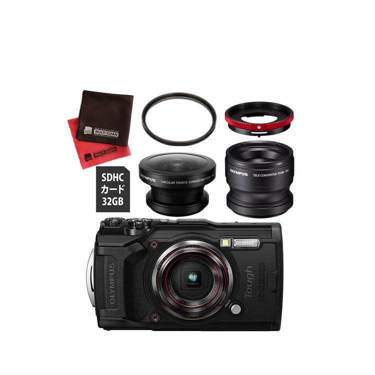 OLYMPUS オリンパス デジタルカメラ Tough TG-6 ブラック (フィッシュアイ FCON-T02 +コンバーターレンズ TCON-T01 セット)【防水カメラ】