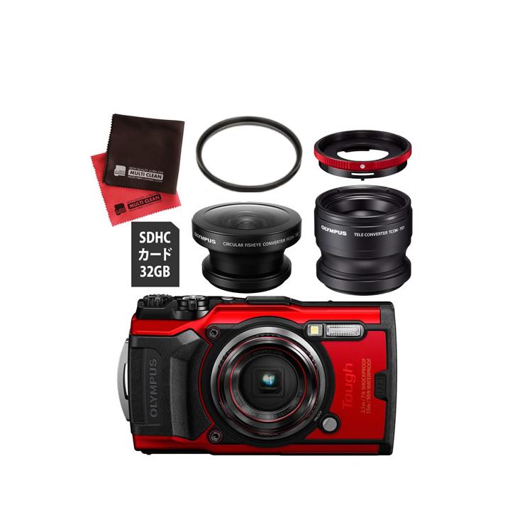 OLYMPUS オリンパス デジタルカメラ Tough TG-6 レッド (フィッシュアイ FCON-T02 +コンバーターレンズ TCON-T01 セット)【防水カメラ】