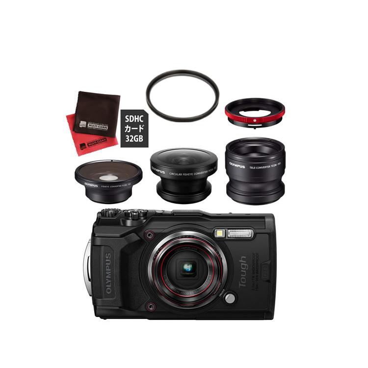 OLYMPUS オリンパス デジタルカメラ Tough TG-6 ブラック (フィッシュアイ FCON-T01/FCON-T02+コンバーターレンズ TCON-T01 セット)【防水カメラ】