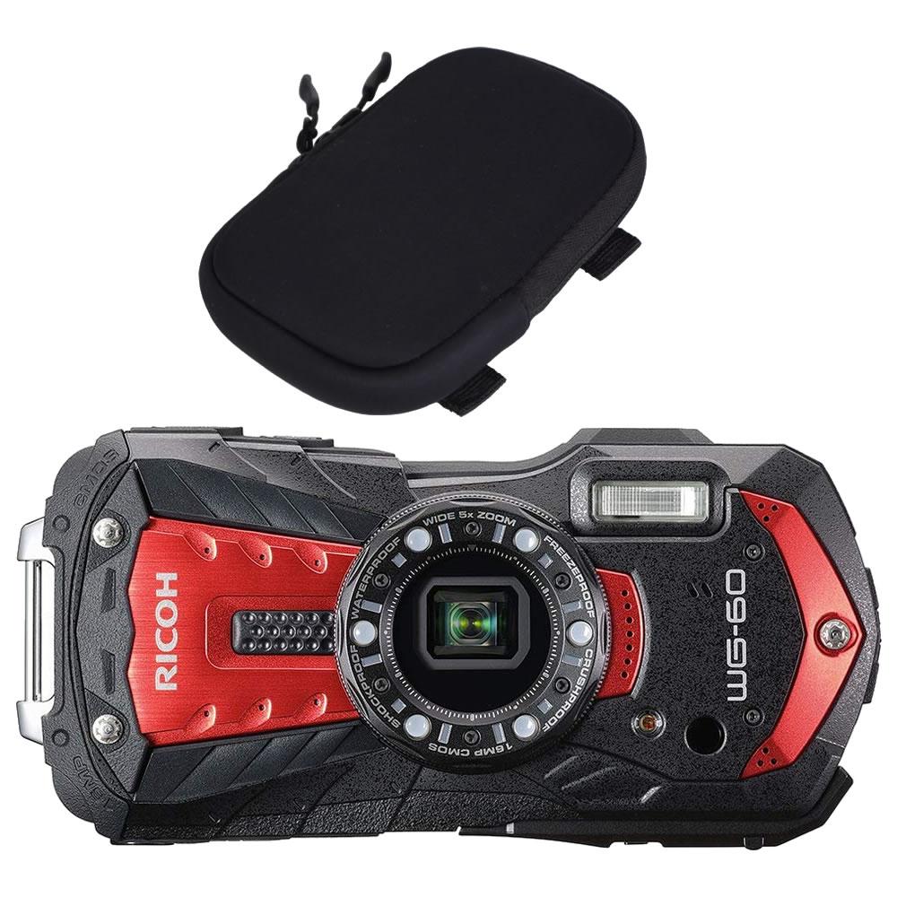 【オリジナルカメラポーチセット】 リコー RICOH WG-60 レッド 防水・防塵・耐衝撃・防寒 デジタルカメラ