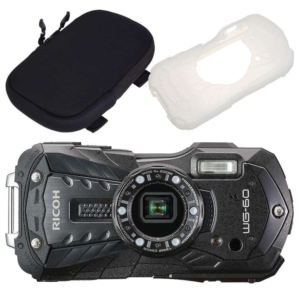 【カメラポーチ&シリコンジャケットセット】 リコー RICOH WG-60 ブラック 防水・防塵・耐衝撃・防寒 デジタルカメラ