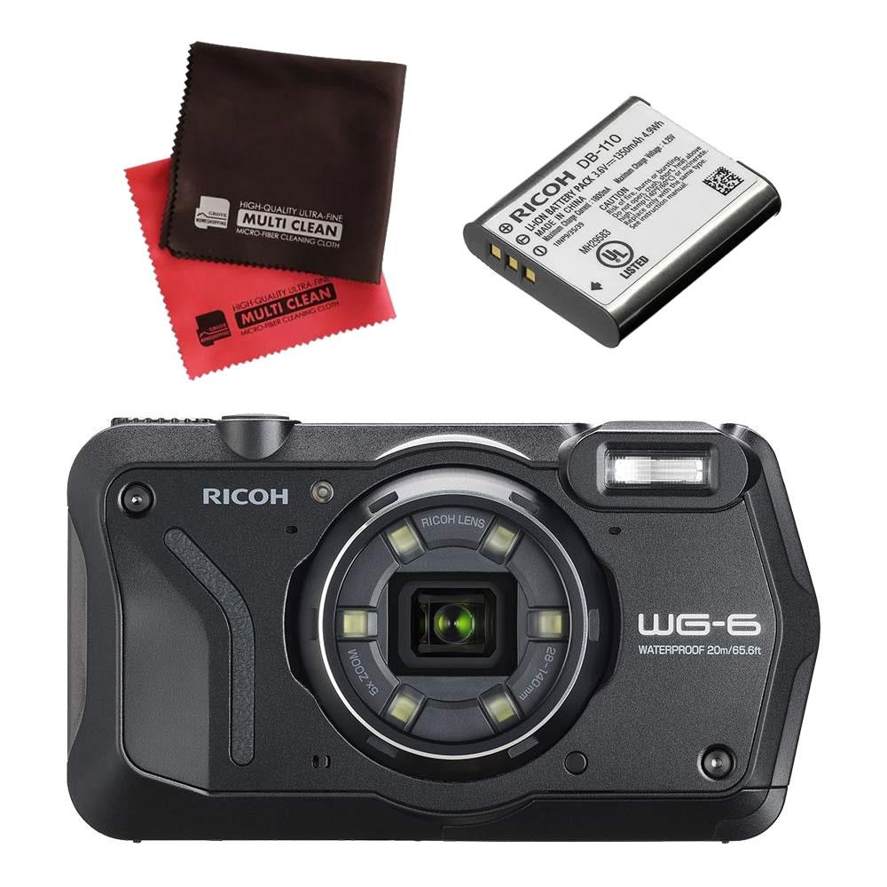 (4月19日発売予定) リコー (RICOH) 防水・防塵・耐衝撃・防寒 デジタルカメラ WG-6 ブラック (バッテリー&クロスセット)