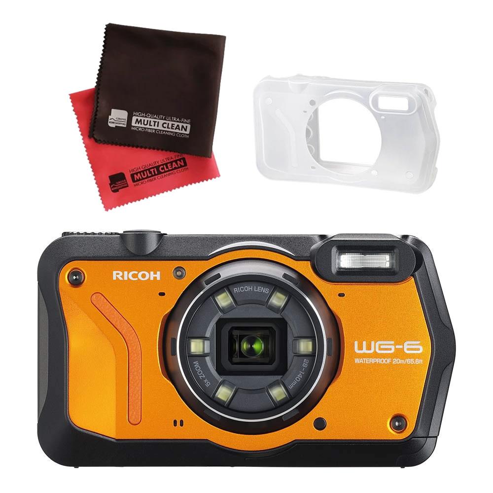 (4月26日発売予定) リコー (RICOH) 防水・防塵・耐衝撃・防寒 デジタルカメラ WG-6 オレンジ (シリコンジャケット&クロスセット)