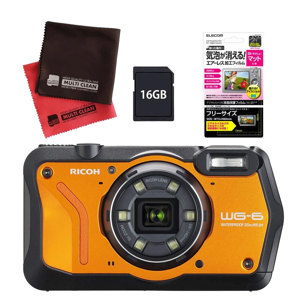 (4月19日発売予定) リコー (RICOH) 防水・防塵・耐衝撃・防寒 デジタルカメラ WG-6 オレンジ (SDHCカード 16GB&液晶フィルムセット)