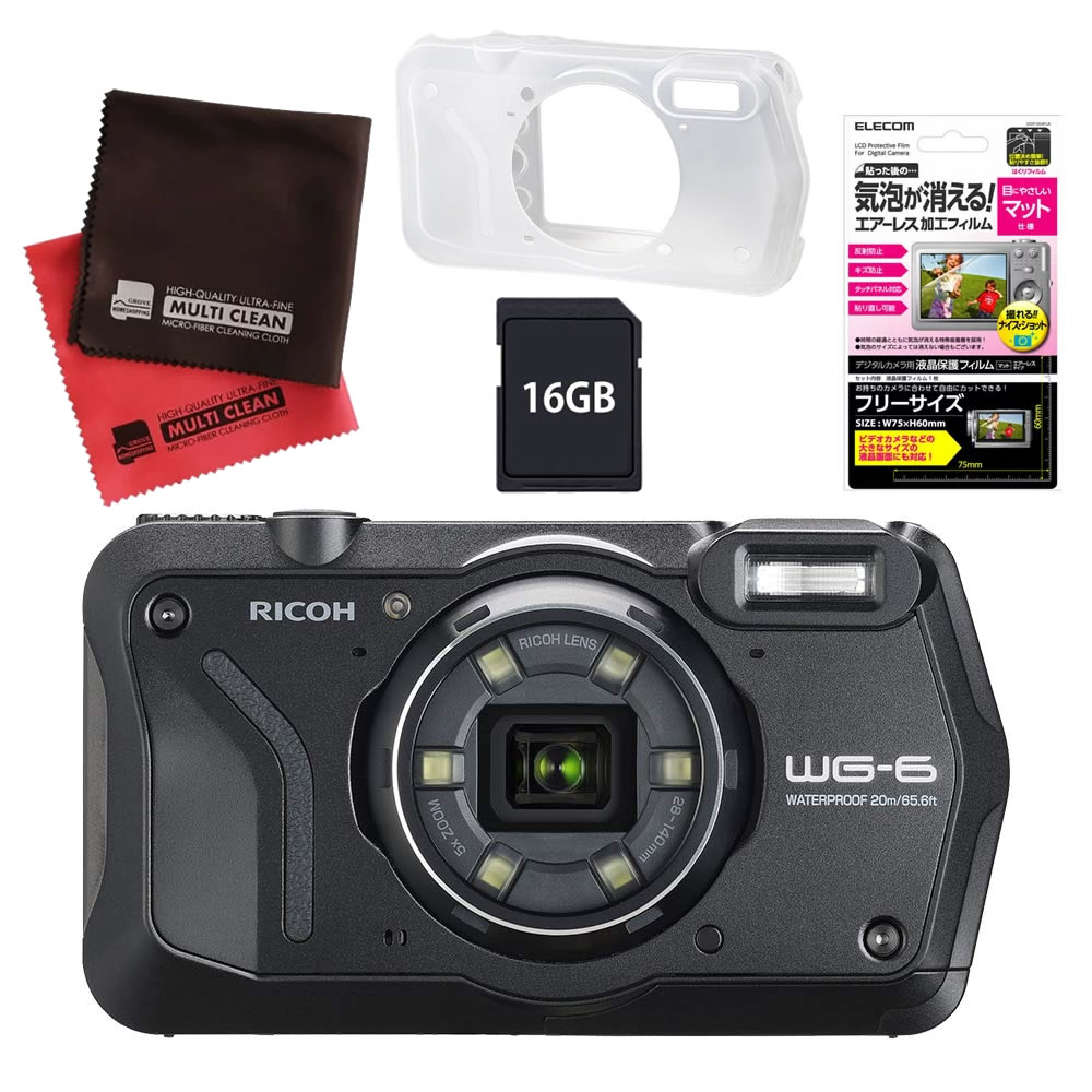 (4月26日発売予定) リコー (RICOH) 防水・防塵・耐衝撃・防寒 デジタルカメラ WG-6 ブラック (SDHCカード 16GB&液晶フィルム&ジャケットセット)