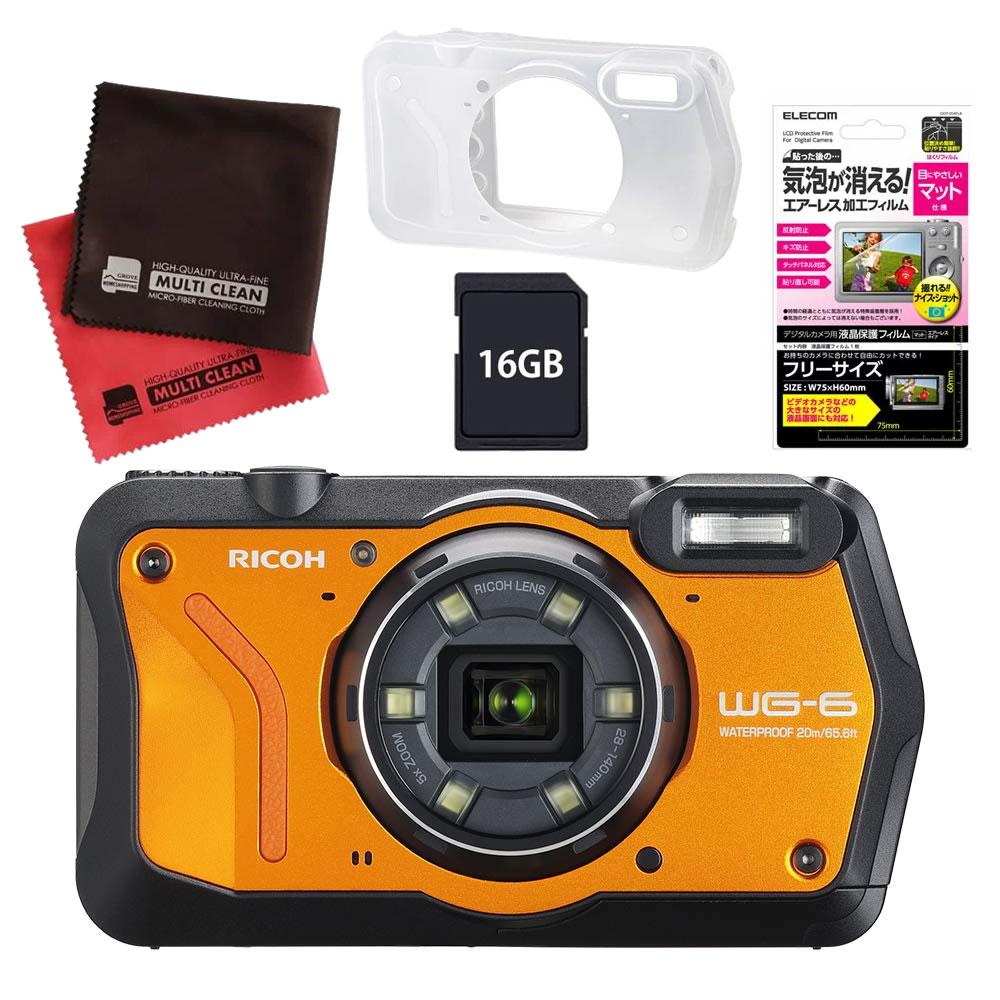 (4月26日発売予定) リコー (RICOH) 防水・防塵・耐衝撃・防寒 デジタルカメラ WG-6 オレンジ (SDHCカード 16GB&液晶フィルム&ジャケットセット)