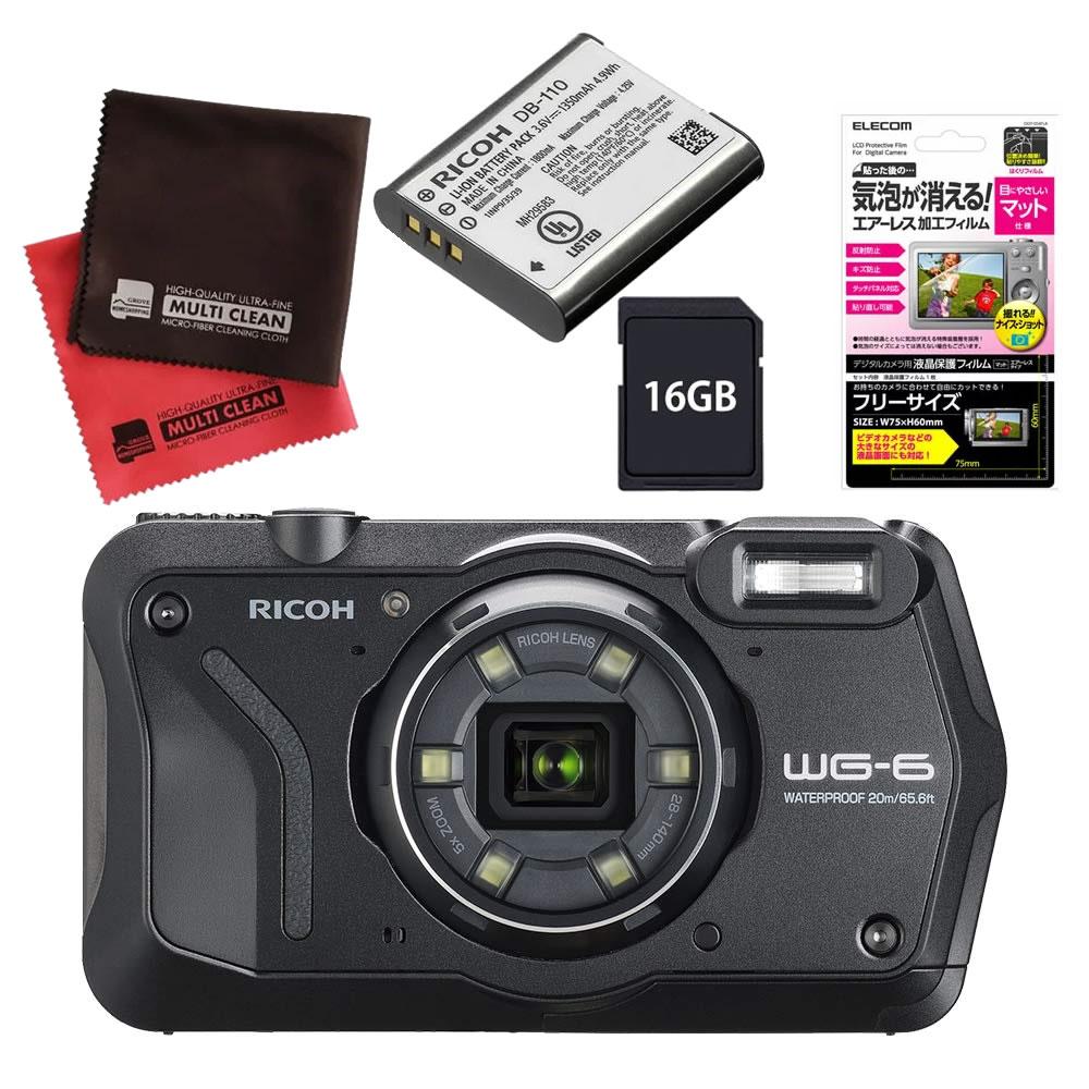 (4月19日発売予定) リコー (RICOH) 防水・防塵・耐衝撃・防寒 デジタルカメラ WG-6 ブラック (SDHCカード 16GB&液晶フィルム&バッテリーセット)