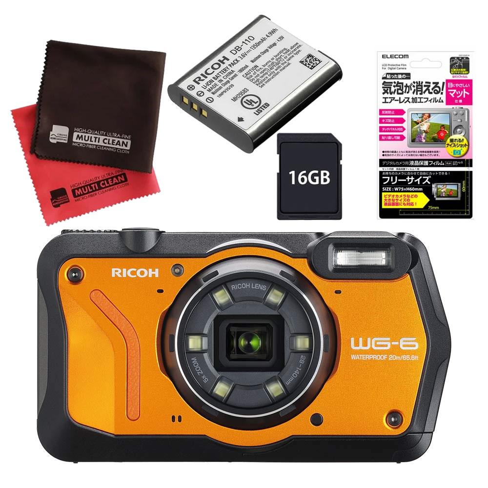 (4月19日発売予定) リコー (RICOH) 防水・防塵・耐衝撃・防寒 デジタルカメラ WG-6 オレンジ (SDHCカード 16GB&液晶フィルム&バッテリーセット)
