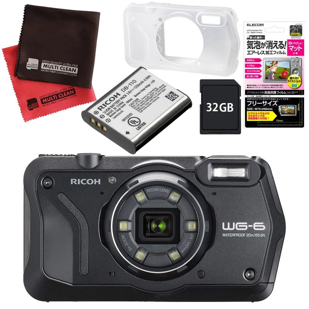 (4月26日発売予定) vvvvvvvvvvリコー (RICOH) 防水・防塵・耐衝撃・防寒 デジタルカメラ WG-6 ブラック (SDHCカード 32GB&ジャケット&バッテリーセット)