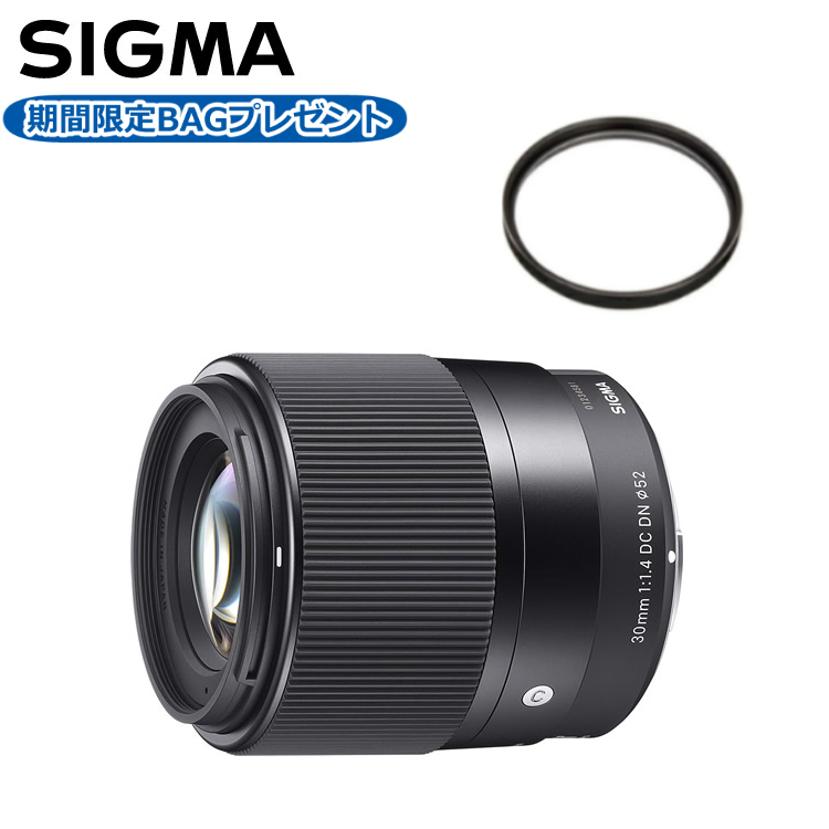 数量限定 カメラバッグプレゼント! シグマ 30mm F1.4 DC DN (C) ソニーEマウント用 標準レンズ (レンズ保護フィルター付)