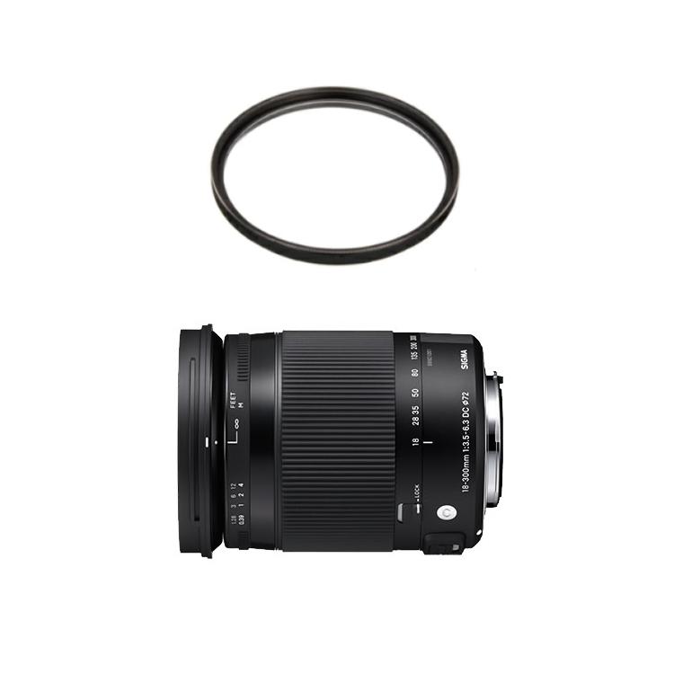数量限定 カメラバッグプレゼント! シグマ 18-300mm F3.5-6.3 DC MACRO OS HSM Contemporary キヤノン用 高倍率ズームレンズ (レンズ保護フィルター付)