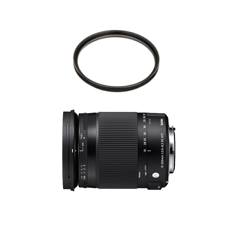 数量限定 カメラバッグプレゼント! シグマ 18-300mm F3.5-6.3 DC MACRO OS HSM Contemporary ニコン用 高倍率ズームレンズ (レンズ保護フィルター付)