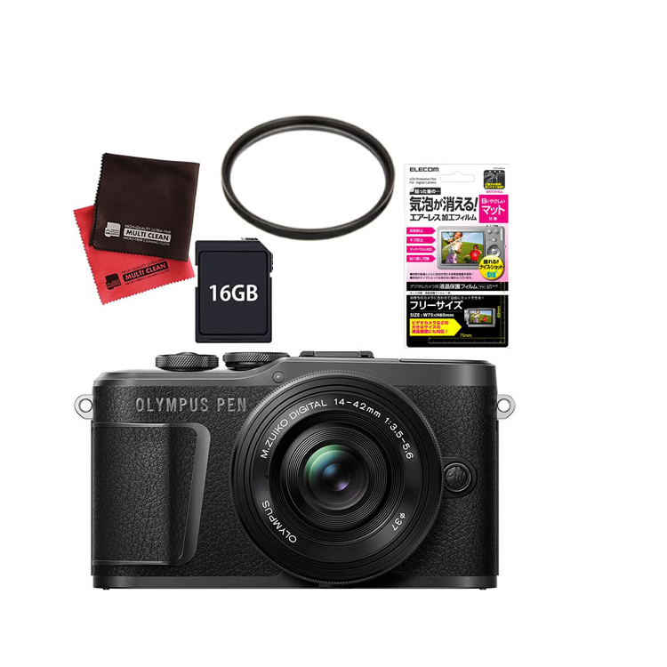 (レンズフィルター&SDカード16GBセット) オリンパス PEN E-PL10・14-42mm EZレンズキット ブラック