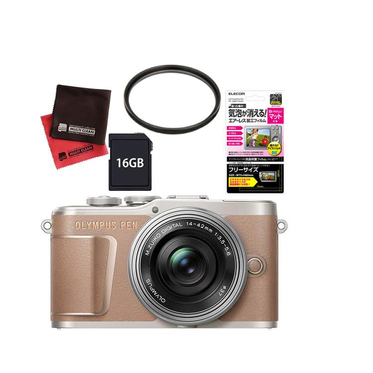 (レンズフィルター&SDカード16GBセット) オリンパス PEN E-PL10・14-42mm EZレンズキット ブラウン