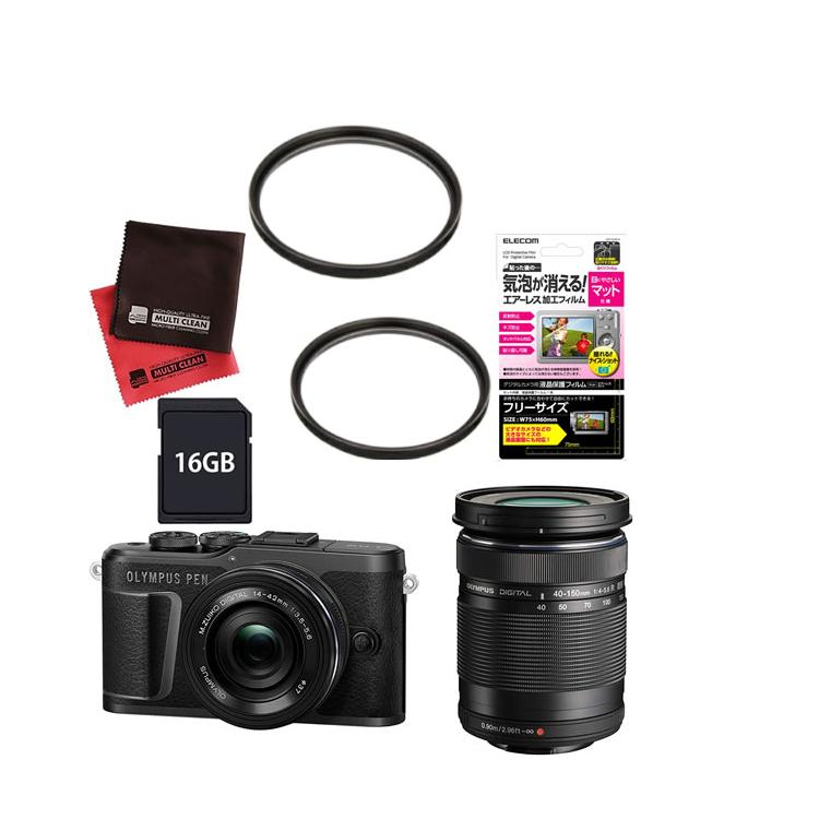(レンズフィルター&SDカード16GBセット) オリンパス PEN E-PL10 EZダブルズームキット ブラック