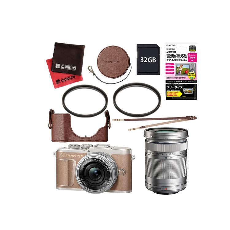 (レンズフィルター&ケース&SDカード32GBセット) オリンパス PEN E-PL10 EZダブルズームキット ブラウン
