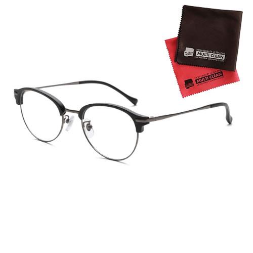 小松貿易 老眼鏡 ピントグラス PINT GLASSES PG-112L-MBK 男性用 軽度レンズモデル(老眼度数:+1.75D~+0.0D) (クロスセット)