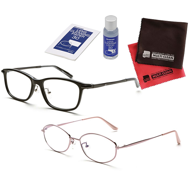 小松貿易 老眼鏡 ピントグラス PINT GLASSES PG-808-BK&PG-703-PK 男性用×女性用 (老眼度数:+0.60~2.50D) (クロス&クリーナーキットセット)
