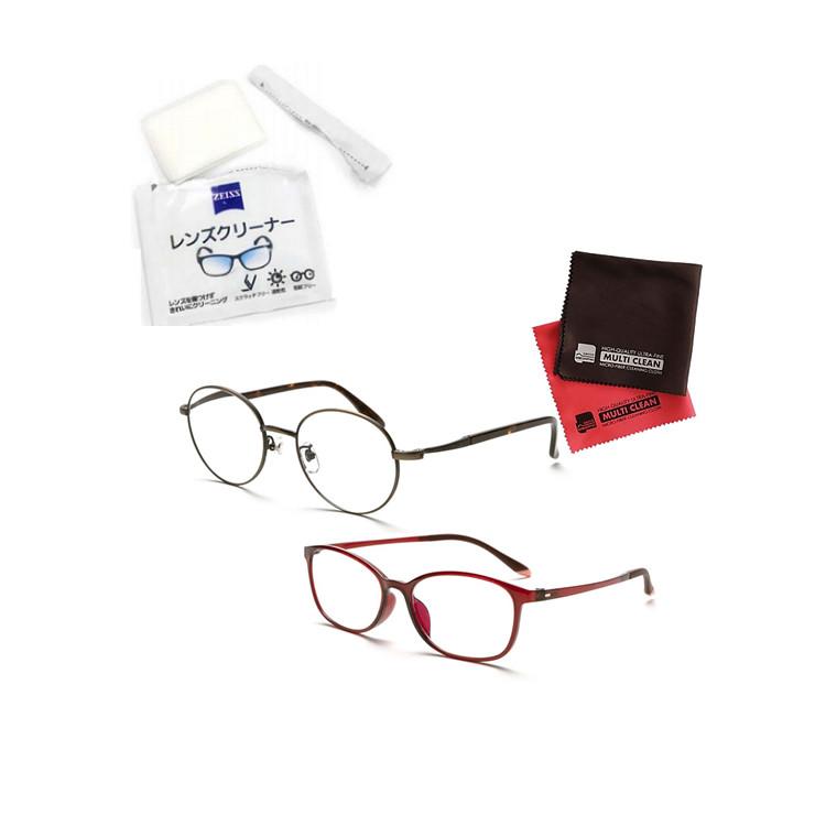 小松貿易 老眼鏡 ピントグラス PINT GLASSES PG-710-BZ&PG-707-RE 男女兼用×女性用 (老眼度数:+0.60~2.50D) (クロス&クリーナーキットセット)