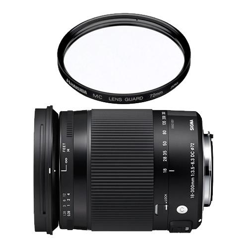 (レンズ保護フィルター付)シグマ 高倍率ズームレンズ 18-300mm F3.5-6.3 DC MACRO OS HSM Contemporary シグマ用