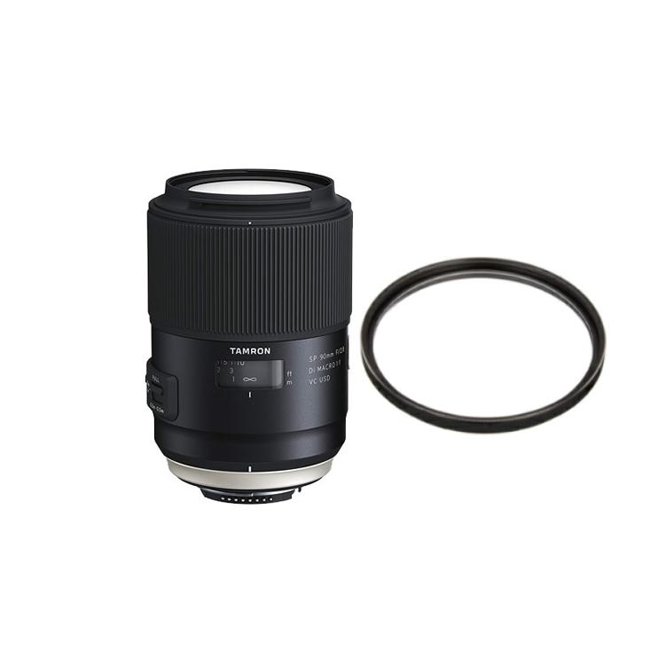 タムロン SP 90mm F/2.8 Di MACRO 1:1 VC USD キヤノン用 マクロレンズ Model:F017E (レンズ保護フィルター付)