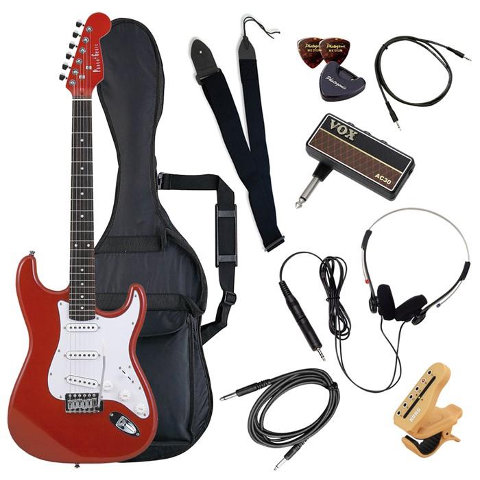 エレキギター セット 初心者 入門 子供 楽器 ギター ストラップ 初心者セット ST-180/MRD メタリックレッド PhotoGenic フォトジェニック (ヘッドフォンアンプセット) (ラッピング不可)