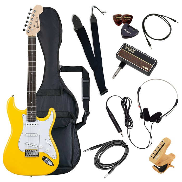 (メーカー直送)(代引不可) ST-180/YW イエロー PhotoGenic エレキギター (ホームショッピングオリジナル ヘッドフォンアンプ ギターセット) (ラッピング不可)