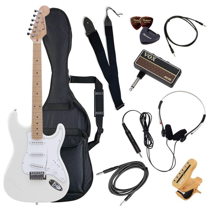 (メーカー直送)(代引不可) ST-180M/WH ホワイト PhotoGenic エレキギター (ホームショッピングオリジナル ヘッドフォンアンプ ギターセット) (ラッピング不可)