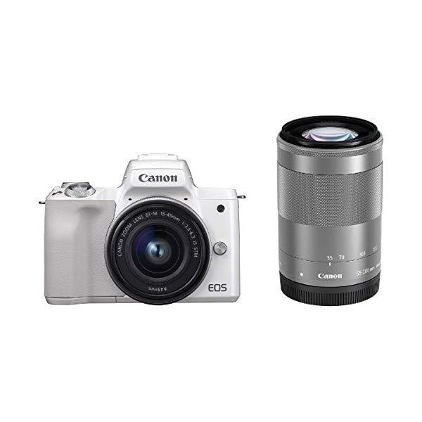 キヤノン EOS Kiss M ホワイト ダブルズームキット (2683C003) ミラーレス一眼カメラ (Canon)
