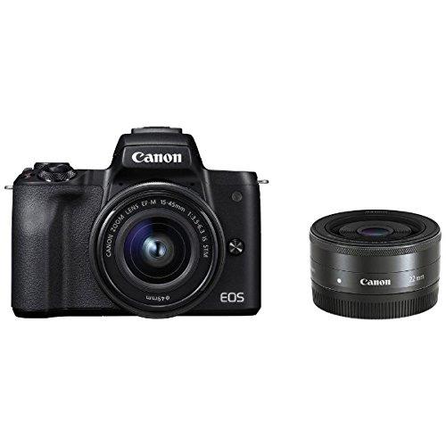 キヤノン EOS Kiss M ブラック ダブルレンズキット (2682C004) ミラーレス一眼カメラ (Canon)