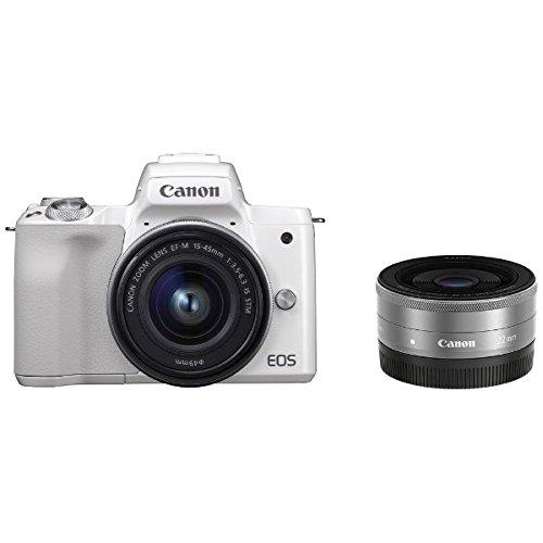 キヤノン EOS Kiss M ホワイト ダブルレンズキット (2683C004) ミラーレス一眼カメラ (Canon)