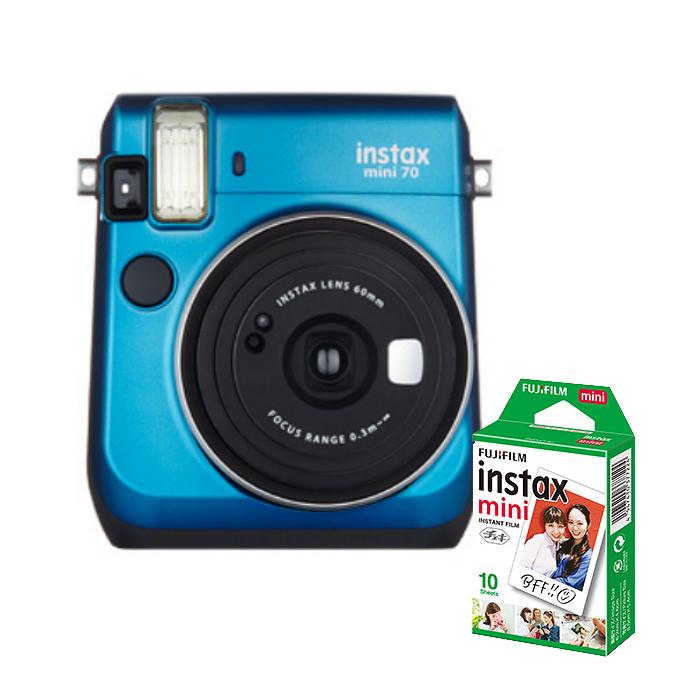 【★チェキフィルム10枚セット】フジフイルム インスタントカメラ チェキ instax mini 70N ブルー (FUJIFILM)