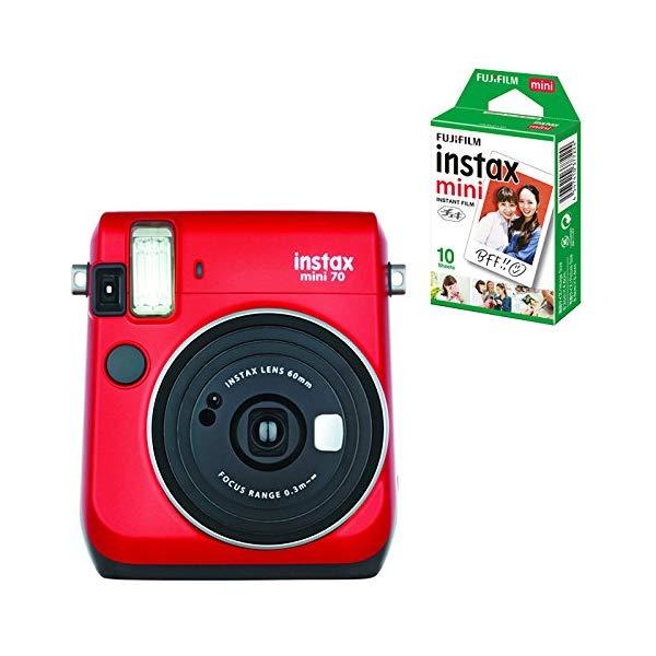 【★チェキフィルム10枚セット】フジフイルム インスタントカメラ チェキ instax mini 70N レッド (FUJIFILM)