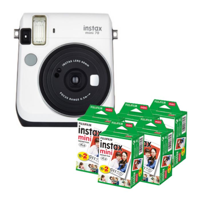【★チェキフィルム100枚セット】フジフイルム インスタントカメラ チェキ instax mini 70N ホワイト (FUJIFILM)