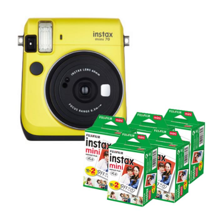 【★チェキフィルム100枚セット】フジフイルム インスタントカメラ チェキ instax mini 70N イエロー (FUJIFILM)