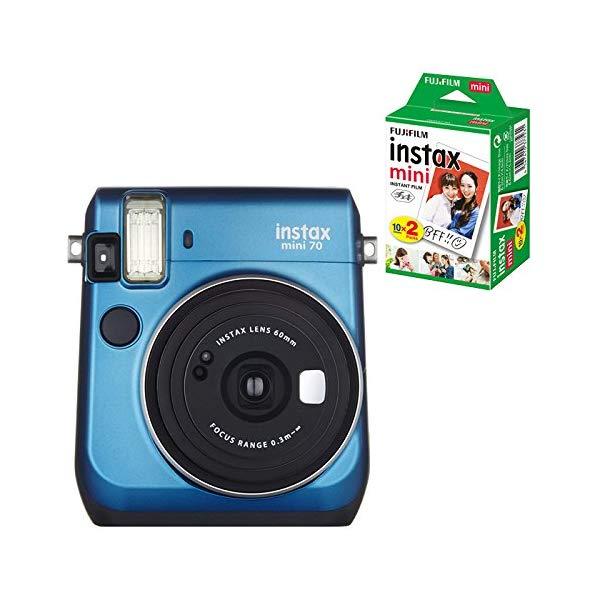 【★チェキフィルム20枚セット】フジフイルム インスタントカメラ チェキ instax mini 70N ブルー (FUJIFILM)
