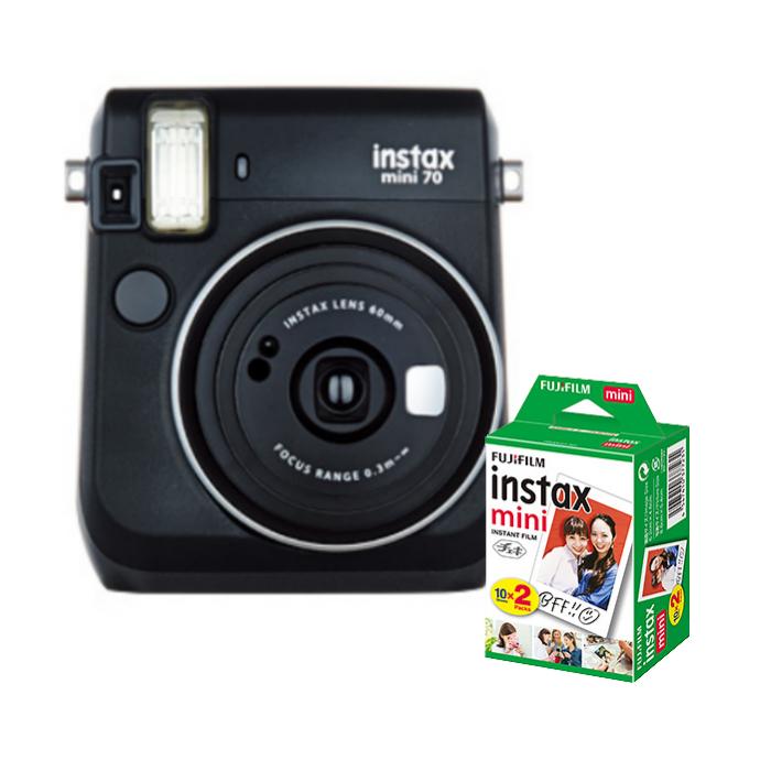 【★チェキフィルム20枚セット】フジフイルム インスタントカメラ チェキ instax mini 70N ブラック (FUJIFILM)