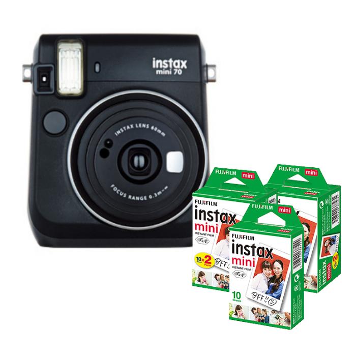 【★チェキフィルム50枚セット】フジフイルム インスタントカメラ チェキ instax mini 70N ブラック (FUJIFILM)