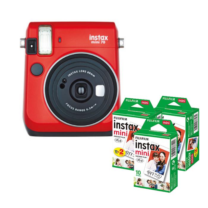 【★チェキフィルム50枚セット】フジフイルム インスタントカメラ チェキ instax mini 70N レッド (FUJIFILM)